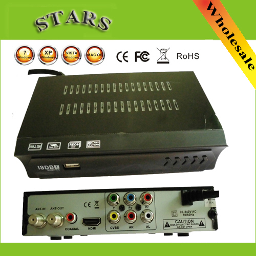 Mini 1080 P HD PVR MPEG4 H.264 IR AV ISDB-T Sintonizador de TV Terrestre Digital media player mediaplayer Box Set Receptor, Dropshipping