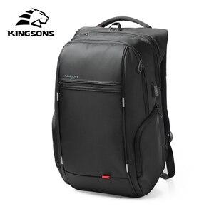 Kingsons 15,17-дюймовый внешний рюкзак для ноутбука с usb-зарядкой, сумка для компьютера, женский рюкзак для ноутбука, водонепроницаемая Противоуго...