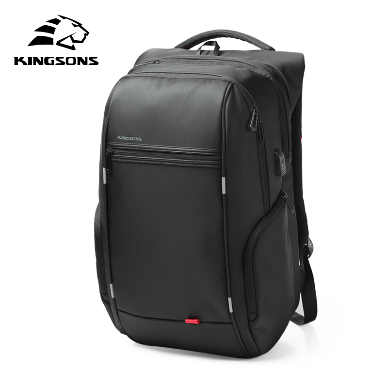 Kingsons 15'17' Inch External USB Charging Laptop Backpack for Computer Bag Women Notebook Pack Waterproof Anti-theft School Bag