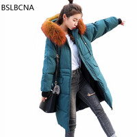 Down Cotton Clothes Woman Winter Coat 2018 Plus Size Fashion Korean Style Mid Length Thicker Big Hair Collar Overcoat Femme A347