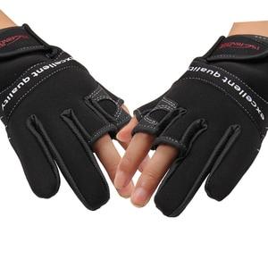 Image 2 - を Tsurinoya 冬釣り手袋ネオプレン 3 指カット手袋狩猟キャンプアンチスリップ Gel 屋外スポーツは暖かい手袋