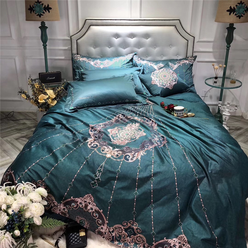Luxury Green Royal Embroidery 100S Egyptian cotton Palace Bedding Set Queen King Size Duvet Cover Bed sheet/Linen PillowcasesLuxury Green Royal Embroidery 100S Egyptian cotton Palace Bedding Set Queen King Size Duvet Cover Bed sheet/Linen Pillowcases