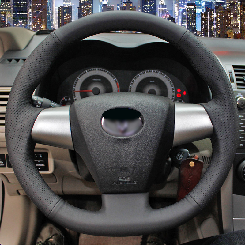 hand stitched black leather steering wheel cover for toyota corolla rav4 2011 2012 car special. Black Bedroom Furniture Sets. Home Design Ideas