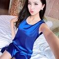 Модная дама сексуальная простой рукав шорты костюм пижамы домашней одежды свежий искушение тонкие шелковые пижамы ночной рубашке ZS012