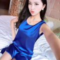 Fashionable lady sexy simple sleeve shorts suit pajamas home wear fresh temptation thin silk sleepwear nightgown ZS012