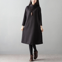 P Ammy Turtleneck Padded Cotton Oversized Mid-Long Jumper Dress Winter Thicken  Cotton Long Sleeve 7044667e4dd1
