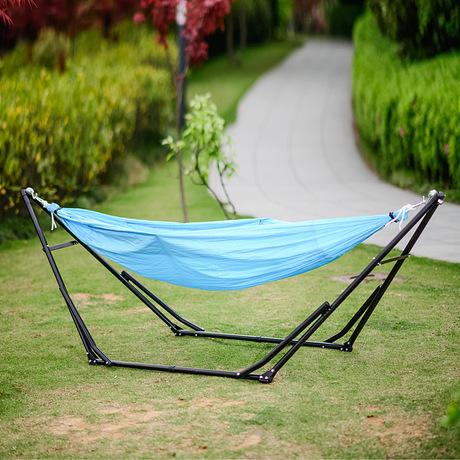 One person Hammocks with iron stand Outdoor Furniture parachute fabric  hammock swing 260*80 cm - Compare Prices On Hammock Swings- Online Shopping/Buy Low Price