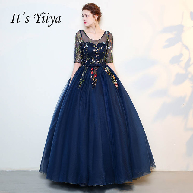 eea74263b67 It s YiiYa Blue Ball Gown Flowers Floral Lace Up Backless Half Sleeves Tulle  Party Evening Dresses Pattern Evening Frock LX136