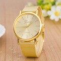 Relógio de Genebra Mulher Relógio de Ouro da moda Cheio de Aço Inoxidável Analógico relógio de Quartzo Relógio Feminino Melhor Qualidade Relogio feminino