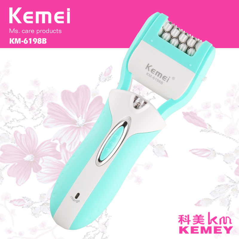 T140 kemei 3 in 1 rechargeable lady epilator electric hair removal depilador callus dead skin remover