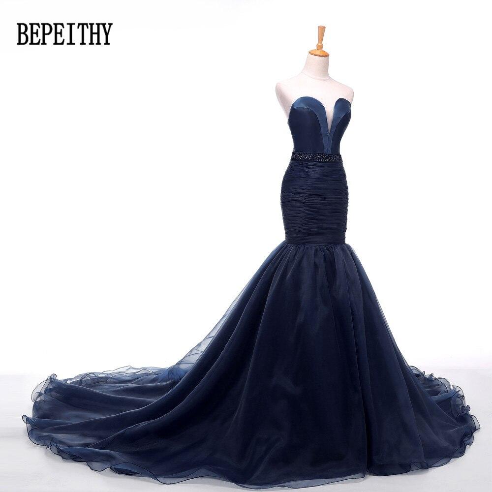 BEPEITHY 2019 Hot Sale Sweetheart Beading Navy Blue Tulle Mermaid Satin Long Train   Evening     Dresses   Robe De Soiree