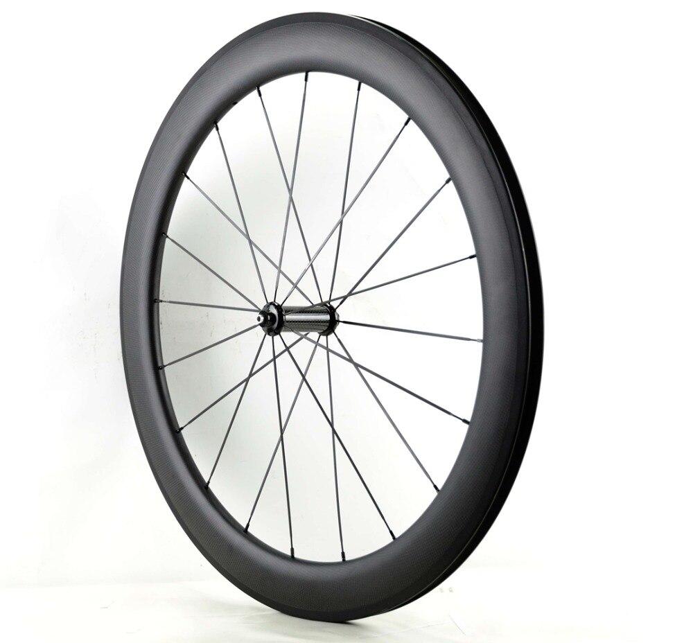Roues avant en carbone 700C 60mm profondeur 25mm largeur pneu/vélo de route tubulaire roues avant en carbone avec finition mate 3 K