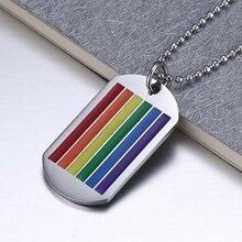 Unisex Multi-Color Tag Pendant Titanium Choker