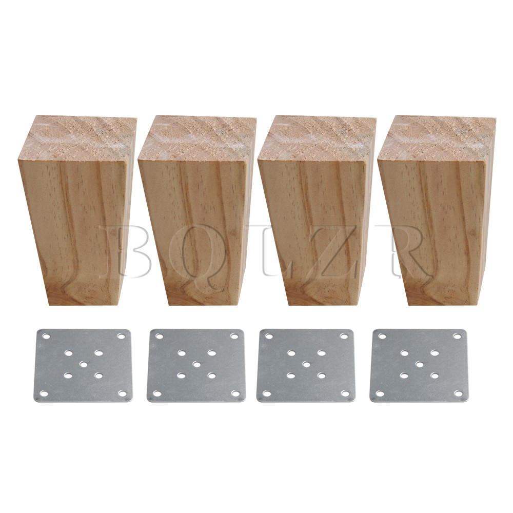 BQLZR 4Pieces Wood Color Wood Trapezoidal Sofa Feet Furniture Leg Part 6x6x12cm