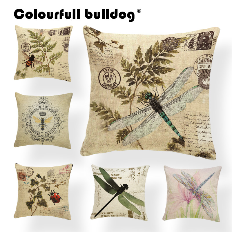 US SELLER outdoor cushion replacements retro buttterfly flower cushion cover
