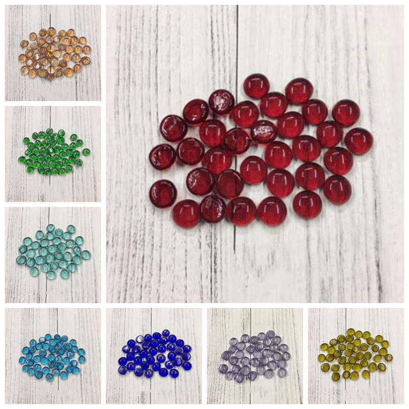 50g DIY Material Personality Mosaic Creative Handwork Round Colorful Fish Tank Glass Flat Beads Crafts Home Decoration AAA0885