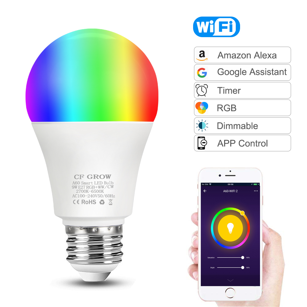 WiFi Smart Light Bulb 8W 9W 10W 12W E27 A60 Motion Sensor PIR Dusk to Dawn LED Night Bulb Lamp For Home Hallway Lighting 220V