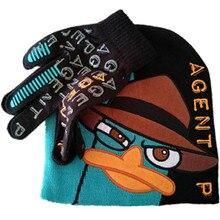 Phinas Ferb/зимние шапки с героями мультфильмов; Perry The Platypus Agent P; Детские кепки для мальчиков; Gorro Masculino Bones Skullies Beanies с перчатками