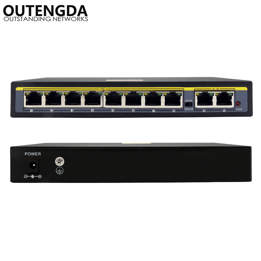 250m 10-Port Extend Power over Ethernet Switch with 8 Ports PoE 2 Uplink 10/100Mbs IEEE802.3af/at PoE Switch 140W External Power