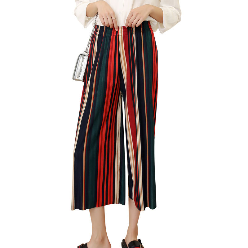 Pants   Women Striped Lady Wide Leg   Pants   Summer Summer Beach High Waist Trousers Chic Streetwear Casual   Pants     Capris   Female