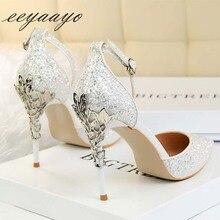 2019 새로운 여름 여성 샌들 높은 얇은 뒤꿈치 지적 발가락 버클 섹시한 숙녀 신부 웨딩 여성 신발 화이트 하이힐 샌들