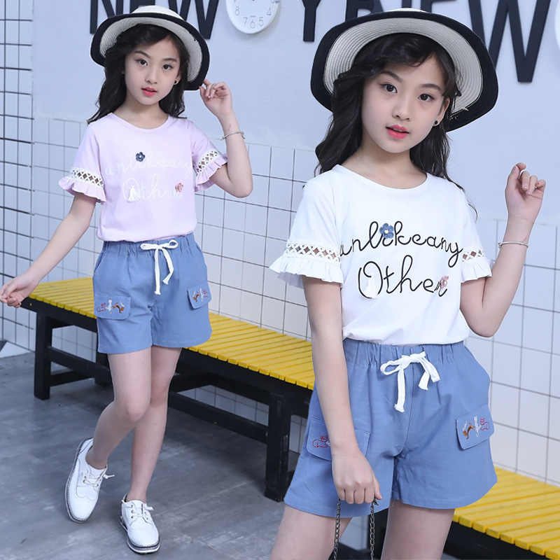 Summer Baby Girls Clothing Set Flower Print T Shirt Jeans Shorts Cotton Tracksuit Kids Korean Children S Sports Suits 3 12year Clothing Sets Aliexpress