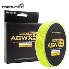 ANGRYFISH Fishing Line Diominate X9 PE 9 Strands Weaves Braided 300m/327yds Super Strong 15LB-100LB Yellow