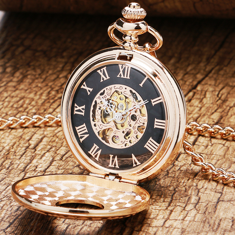 Image 2 - 2020 Vintage Hollow Roman Numbers Skeleton Mechanical Hand Wind Pocket Watch Montre Gousset With Chain Men Women Giftcase 360watch cases and boxeswatch unisex -