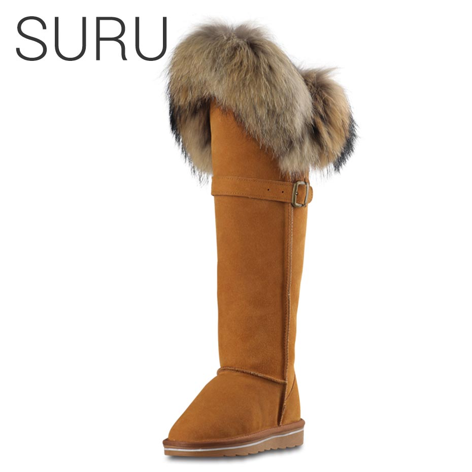 SURU High Suede Long Boots Genuine Leather Winter Suede Boots Women Fur