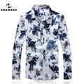SHAN BAO brand clothing white shirt with blue flowers luxurious high-quality cotton autumn new casual long-sleeved shirt 16027