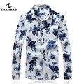 SHAN BAO marca de roupas camisa branca com flores azuis luxuoso algodão de alta qualidade outono novo ocasional longa-camisa de manga comprida 16027