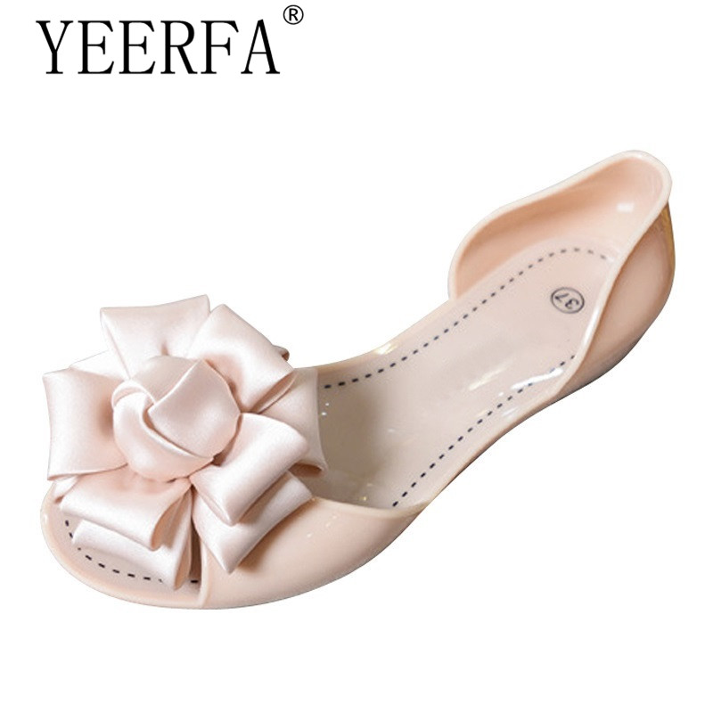 YEERFA Summer Jelly Shoes Woman Beach Flowers Jelly Sandals 2018 Slip On Casual Flats Women Shoes Slippers Flip Flops SIZE 35-40 2017 summer pearl women slippers velvet sandals flip flops slip on flats woman beach platform women shoes plus size 35 39