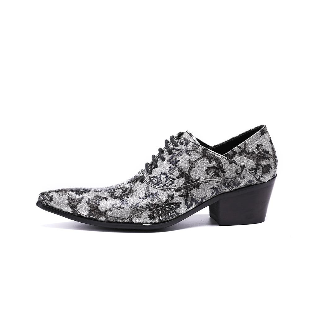 Christia Bella Men High Heels Oxford Shoes Men Handmade Formal Mens Dress Shoes Genuine Leather Sliver Luxury Wedding Shoes - 2