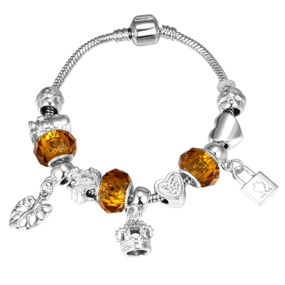 Pink Crystal Charm Silver Bracelets & Bangles for Women  Beads Silver Bracelet Femme Jewelry 13