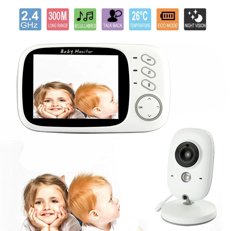 3.2-дюймовий бездротової монітор дитини Цифрова безпека нічного бачення 2-х сторонній розмова сигналізації датчика температури моніторингу заспокійливих колискових