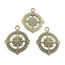 10Pcs Pendants Vintage Bronze Tone Compass Metal Craft Fashion Jewelry DIY Findings 29mm