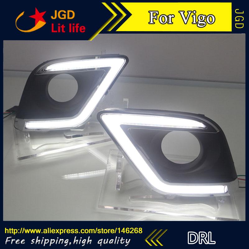 Free shipping ! 12V 6000k LED DRL Daytime running light for Toyota Hilux Revo VIGO 2015 2016 fog lamp frame Fog light
