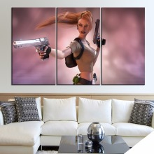 Lara Croft Tomb Raider Painting One Set 3 Piece Style Modern On Canvas Printing Type Home Decorative Wall Artwork Poster цена