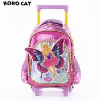 2017 Cartoon 3D Kids Children School Trolley Bag Elegant Angel Bags Girls Bookbag School Trolley Bag