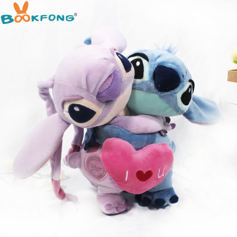 20cm Lilo And Stitch Plush Toys Love Heart Stitch And Angel Hug Couple Cute Stuffed Animals Baby Kids Toys For Children Gifts lilo and stitch toy 626 experiment 4 hands stitch plush figure doll 22cm cute stuffed animals baby kids toys for children gifts