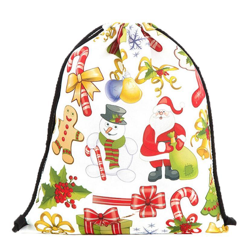 ISHOWTIENDA Drawstring Bag Cute Women Drawstring Bag Christmas Gift Storage Bag Backpack Girls Small Travel Backpack Canvas Tas