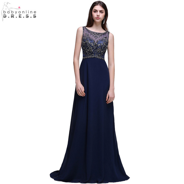 Vestido de Festa Longo Luxus Wulstige Kristalle Marine blau ...