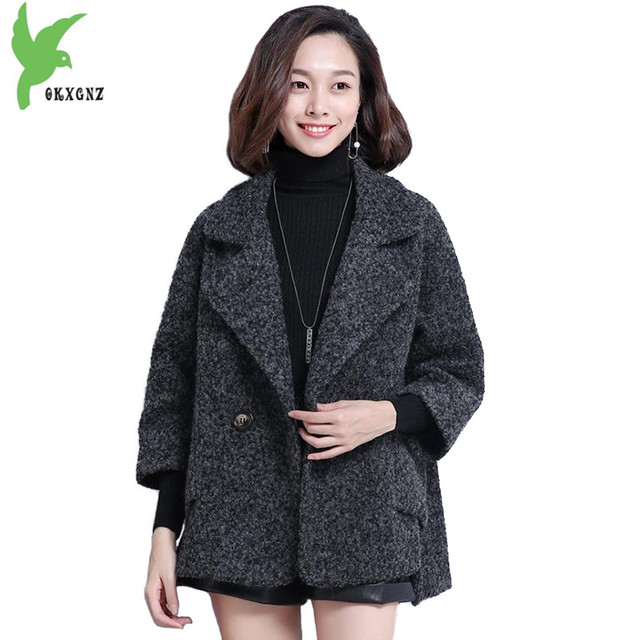 74e9933fc03 New fashion Wool coat for women 2018 Autumn winter short Cape wool coat  female Plus size Thicken high quality wool jackets 2235