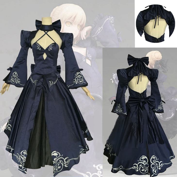 Fate Stay Night Saber Alter Arturia Pendragon Cosplay Costume Women Anime FGO Zero Fate Black Bride Gothic Lolita Dress