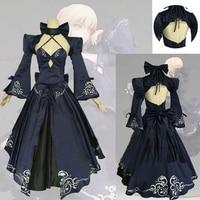 Fate Stay Night Saber Alter Arturia Pendragon Cosplay Costume Women Anime FGO Zero Fate Black Bride Gothic Lolita Dress