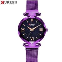 NEW CURREN Luxury Women Watches Mesh Ladies Clock Magnet Buckle Starry Diamond Geometric Surface Casual Dress Quartz Wristwatch