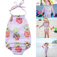 2018 New Newborn Baby Girls Swimwear Summer One Piece Swimsuit Baby Bathing Suit Halter Bandage Fruit Printed Sweet Beachwear