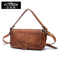 2017 New Envelope Bags Women Handbag Brown Genuine Leather Ladies Messenger Shoulder Bags Rivet Design