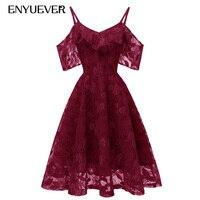 Enyuever Short Women Lace Dress 2019 Spaghetti Strap Vestidos Vintage Beach Formal Elegant Wedding Summer Burgundy Party Dress