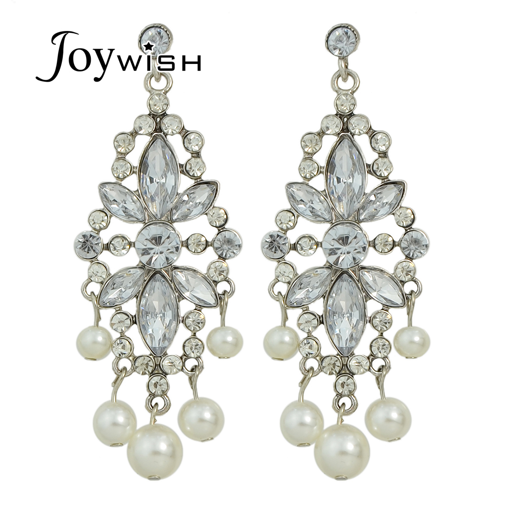 Luxury Women Jewelry Antique Silver With Rhinestone Ang Simulated Pearl  Party Earrings Chandelier Long Earrings For